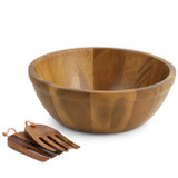 "Salad / Serving Bowl, 3-Piece Set, Acacia Wood, 12"" Bowl + Salad Hands, Pattani Collection"