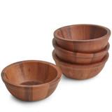 "Salad / Serving Individual Bowl, 4-Piece Set, Acacia Wood, 6 1/2"" x 2 1/2"", Pattani Collection"