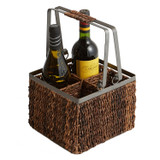 "Wine Caddy, 8"" x 8"" x 12 1/2"", Metal Abaca Collection"
