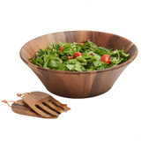 "Salad / Serving Bowl, 3-Piece Set, Acacia Wood, 14""Bowl + Salad Hands, Phuket Collection"