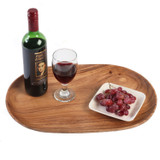 "Oval Serving Tray / Platter, Acacia Wood, 12"" x 18"""