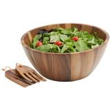 "Salad / Serving Bowl, 3-Piece Set, Acacia Wood,  12"" Bowl + Salad Hands, Bangkok Collection"