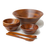 "Salad / Serving Bowl, 7-Piece Set, Stained Rubberwood, 11"" Bowl + 4 Individual Bowls + Servers, Andaman Sea Collection"