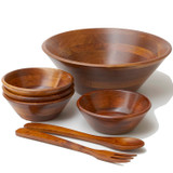 "Salad / Serving Bowl, 7-Piece Set, Stained Rubberwood, 14"" Bowl + 4 Individual Bowls + Servers, Andaman Sea Collection"