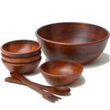 "Salad / Serving Bowl, 7-Piece Set, Stained Rubberwood, 14"" Bowl + 4 Individual Bowls + Servers, Chiang Mai Collection"