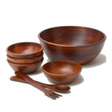 """Salad / Serving Bowl, 7-Piece Set, Stained Rubberwood, 10"""" Bowl + 4 Individual Bowls + Servers, Chiang Mai Collection"""
