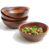"Salad / Serving Individual Bowls, 4-Piece Set, Stained Rubberwood,  7"" x 2 1/2"", Chiang Mai Collection"