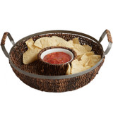 "Chip & Dip - Round, 13"" x 3"", Metal Abaca Collection"