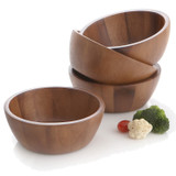 Salad / Serving Individual Bowl, 4-Piece Set, Acacia Wood, Bangkok Collection