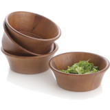"Salad / Serving Individual Bowl, 4 Piece Set, Acacia Wood, 6 1/2"" x 2 1/2"", Phuket Collection"