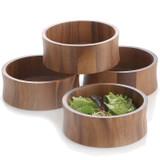 "Salad / Serving Individual Bowl, 4 Piece Set, Acacia Wood, 6 1/2"" x 2 1/2"", Bali Collection"