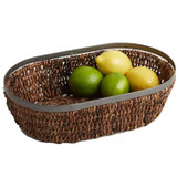 "Oval Basket, 13"" x 8"" x 4"", Metal Abaca Collection"