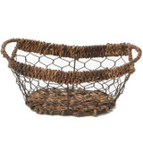 "Oval Boat Tray, 13"" x 7"" x 5"", Wired Abaca Collection"