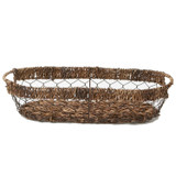 "Oval Bread Tray, 16"" x 7 1/2"" x 3 1/2"", Wired Abaca Collection"