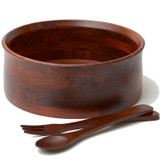 "Salad / Serving Bowl, 3-Piece Set, Rubberwood, 13"" Bowl + Servers, Penang Collection"