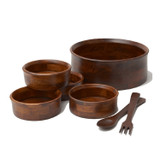 "Salad / Serving Bowl, 7-Piece Set, Stained Rubberwood, 10"" Bowl + 4 Individual Bowls + Servers, Penang Collection"