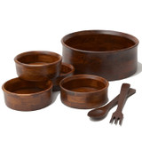 "Salad / Serving Bowl, 7-Piece Set, Stained Rubberwood, 13"" Bowl + 4 Individual Bowls + Servers, Penang Collection"