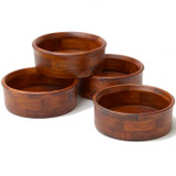 "Salad / Serving Individual Bowls, 4-Piece Set, Stained Rubberwood, 7"" x 2 1/2"", Penang Collection"