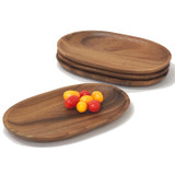 "Oval Serving Tray / Platter, 4-Piece Set, Acacia Wood, 6"" x 10"""