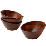 "Salad / Serving Individual Bowls, 4-Piece Set, Stained Rubberwood, 7"" x 3 1/4"", Singapore Collection"