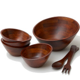 "Salad / Serving Bowl, 7-Piece Set, Stained Rubberwood, 12"" Bowl + 4 Individual Bowls + Servers, Singapore Collection"