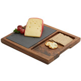 "Cheese / Appetizer Serving Tray, Acacia Wood & Slate, 12"" x 10 1/2"" x 1"""