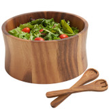 "Salad / Serving Bowl, 3-Piece Set , Acacia Wood, 10"" Bowl + Servers, Bali Collection"