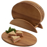 "Individual Oval Serving Trays, 7 Piece Set, Acacia Wood,  9 1/2"" x 6 1/2"""