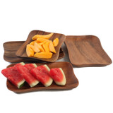 "Pinched Serving Tray, 4-Piece Set, Acacia Wood, 7 1/2"" x 5 1/4"""