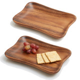 "Pinched Serving Tray, 2-Piece Set, Acacia Wood,       9 1/2"" x 6"""