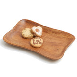 "Pinched Serving Tray, Acacia Wood, 11 1/2"" x 7 1/4"""