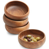 "Multipurpose Serving Bowl, 4-Piece Set, Acacia Wood, 6"" x 2"""