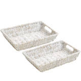 "Serving Tray - Rectangular, Individual, 2-Piece Set, 12"" x 9"" x 2"", Whitewash Collection"