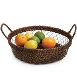 "Serving Tray - Round, 13"" x 3"", Wired Abaca Collection"