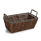"Rectangular Shelf Basket, 12"" x 6"" x 4 3/4"", Metal Abaca Collection"