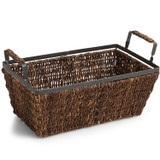 "Rectangular Shelf Basket, 14"" x 8"" x 5 1/2"", Metal Abaca Collection"