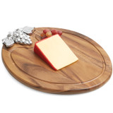 "Serving Tray with Metal Accent, Acacia Wood, 15"" x 12"""