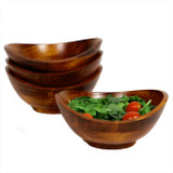 """Salad / Serving Individual Bowls, 4-Piece Set, Stained Rubberwood, 7"""" x 6 1/2"""" x 3"""", Boracay Collection"""