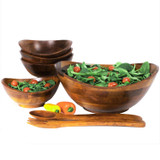 "Salad / Serving Bowl, 7 Piece Set, Stained Rubberwood, 11 3/4"" Bowl + 4 Individual Bowls + Servers, Boracay Collection"
