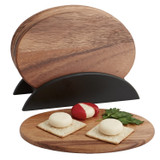 "Individual Oval Serving Trays, 7-Piece Set, Acacia Wood,  9 1/2"" x 6 1/2"""