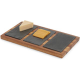 "Cheese / Appetizer Serving Tray, Acacia Wood & Slate, 14"" x 8"" x 3/4"""