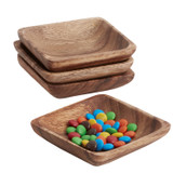 "Snack Dish - Square, 4-Piece Set, Acacia Wood, 4 1/2"" x 4 1/2"""