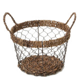 "Round Basket, 11 1/2"" x 7 1/2"", Wired Abaca Collection"