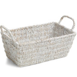 "Rectangular Shelf Basket, 16"" x 10"" x 6 1/2"", Whitewash Collection"