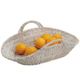 "Flat Basket, 18"" x 10"" x 6"", Whitewash Collection"