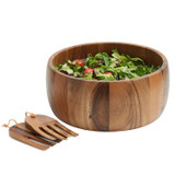 "Salad / Serving Bowl, 3-Piece Set, Acacia Wood,  10"" Bowl + Serving Hands, Calabash Collection"