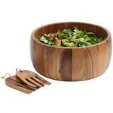 "Salad / Serving Bowl,  3-Piece Set, Acacia Wood, 12"" Bowl + Serving Hands, Calabash Collection"