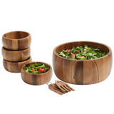 "Salad / Serving Bowl, Acacia Wood, 7-Piece Set, 10"", Calabash Collection"