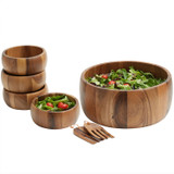 """Salad / Serving Bowl, Acacia Wood, 7-Piece Set, 12"""", Calabash Collection"""