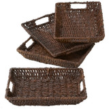 "Serving Tray - Rectangular, 4-Piece Set, 12"" x 9"" x 2"", Abaca Collection"